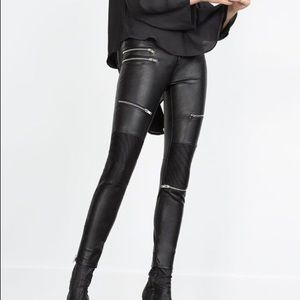 ZARA Faux Leather Moto Biker Zipper Skinny Pants